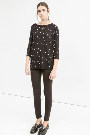 Patterned pullover with star-shaped buttons, Black/White, hi-res