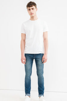 Worn-effect skinny-fit stretch jeans, Medium Wash, hi-res