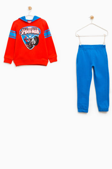 Cotton tracksuit with Spiderman print, Blue/Red, hi-res