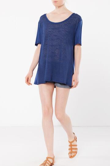 T-shirt with openwork front, Cornflower Blue, hi-res