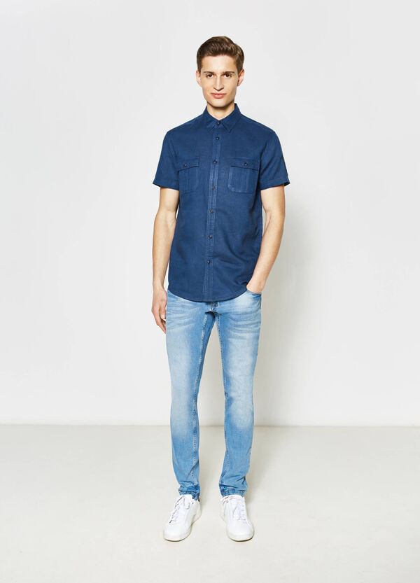 Linen, slim-fit casual shirt | OVS