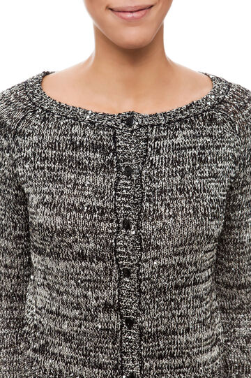 Cardigan con paillettes, White/Black, hi-res