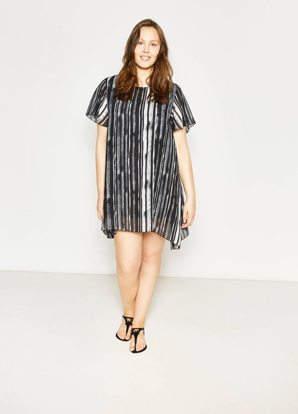 Curvy striped dress with short sleeves | OVS