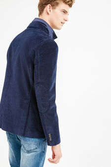 Elegant stretch cotton jacket, Blue, hi-res