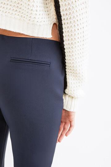 Pantaloni eleganti tinta unita stretch, Blu navy, hi-res