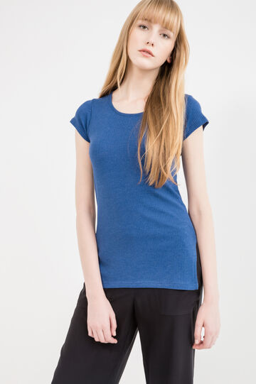 100% cotton T-shirt with ribbing, Blue, hi-res