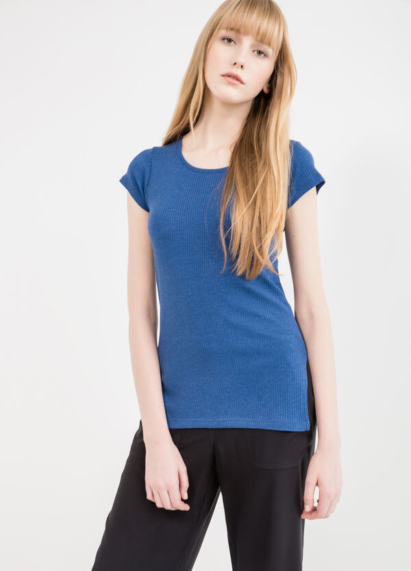 100% cotton T-shirt with ribbing | OVS