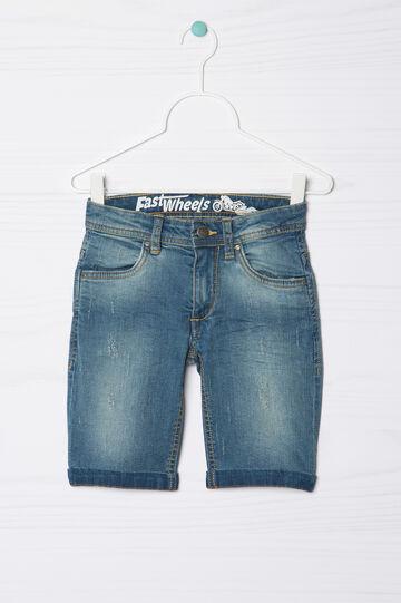 Used-effect stretch denim Bermuda shorts, Medium Wash, hi-res