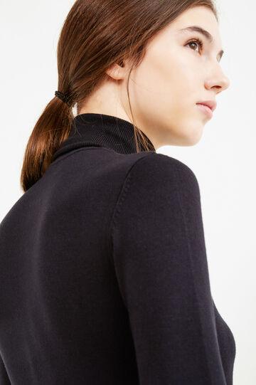 Solid colour viscose blend turtleneck jumper, Black, hi-res