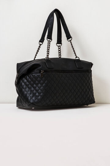Quilted handbag with chain, Black, hi-res