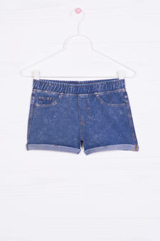 Stretch denim shorts with turned up hem, Dark Blue, hi-res