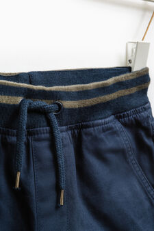 100% cotton joggers with drawstring, Navy Blue, hi-res