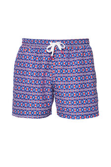Patterned swim boxer shorts with drawstring, Red, hi-res