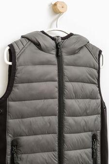 Padded waistcoat with hood, Grey, hi-res