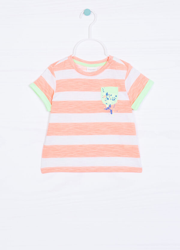 Cotton T-shirt with striped pattern | OVS