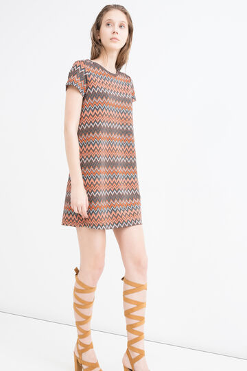 Stretch printed dress with lurex