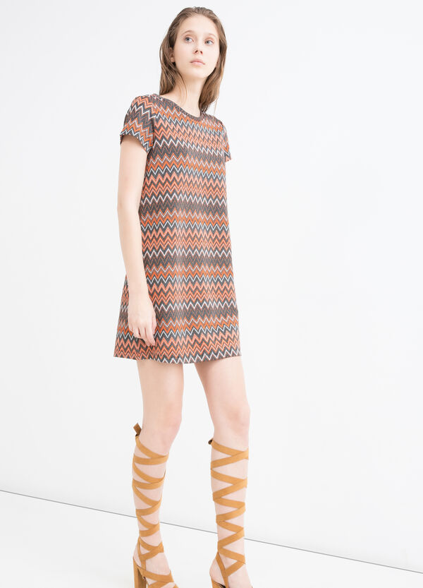 Stretch printed dress with lurex | OVS
