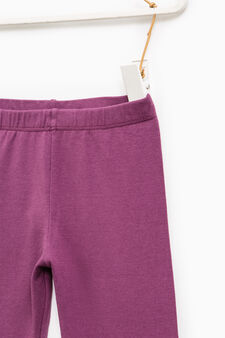 Solid colour stretch cotton leggings, Plum, hi-res
