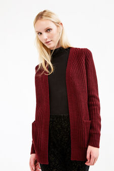 Long chunky knit cardigan, Aubergine, hi-res
