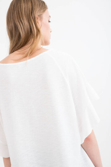 Stretch T-shirt with bat sleeves, White, hi-res