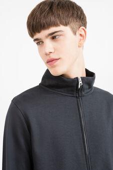 Cotton blend high neck sweatshirt., Navy Blue, hi-res