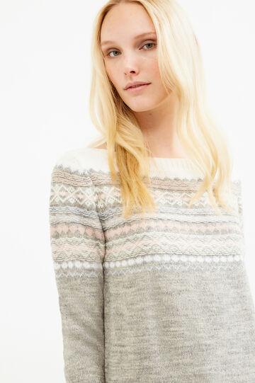 Wool blend pullover with embroidery, Grey, hi-res