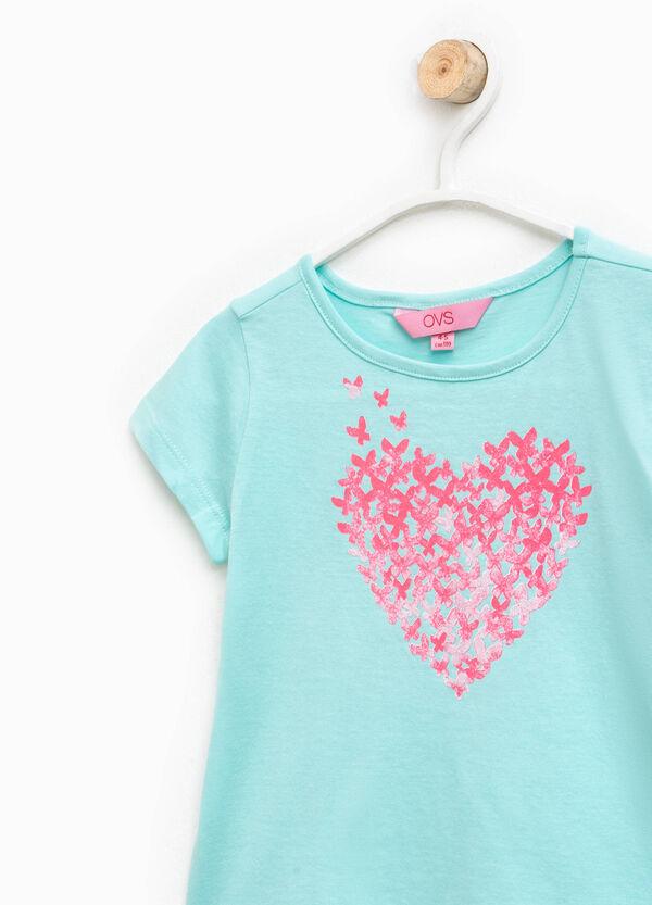 Crew-neck T-shirt with glitter print | OVS