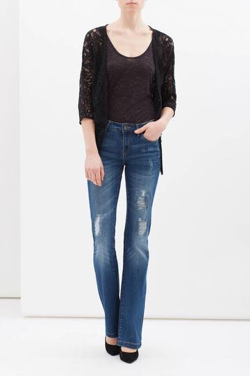 Lace shrug with fringe, Black, hi-res