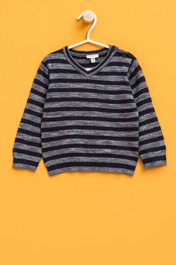 Striped linen blend knitted pullover, Blue, hi-res