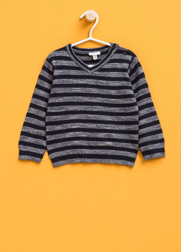 Striped linen blend knitted pullover | OVS