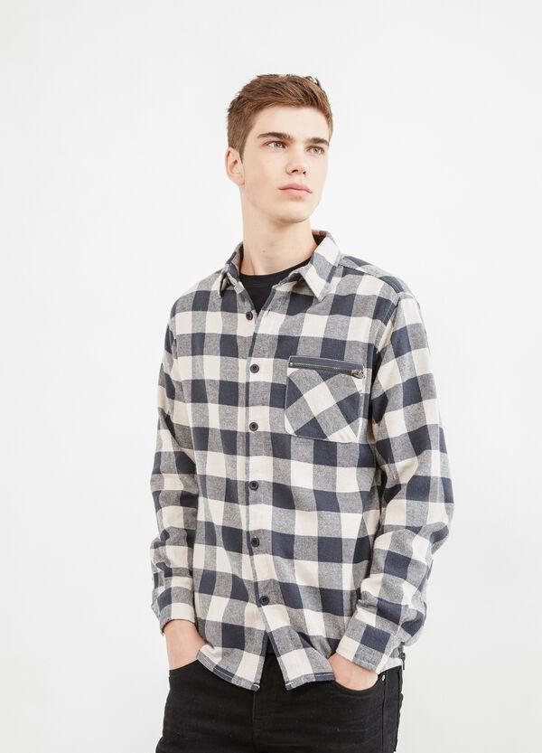 Camicia puro cotone a quadri con zip | OVS