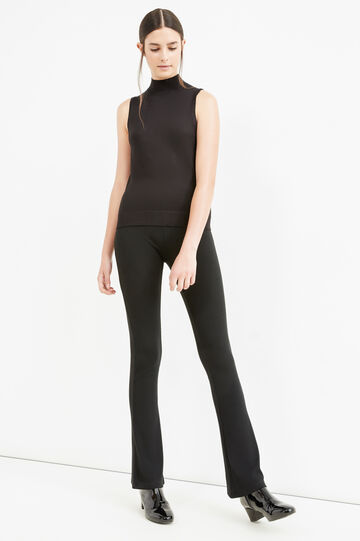 Solid colour sleeveless pullover with high neck, Black, hi-res
