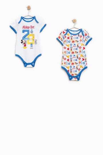 Two-pack Mickey Mouse Robot bodysuits, White/Blue/Red, hi-res