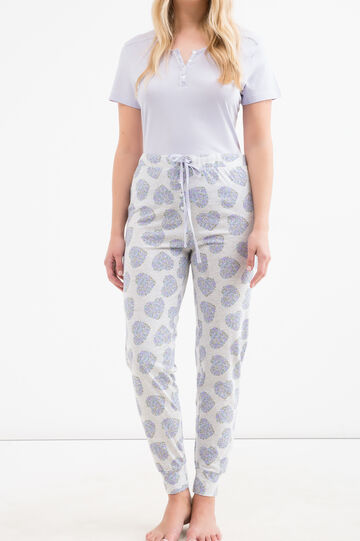 Curvy patterned pyjama trousers, Grey Marl, hi-res