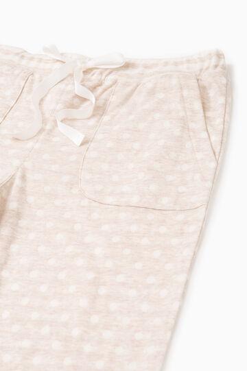 Polka dot pyjama trousers in cotton, Beige, hi-res