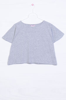 Solid colour T-shirt in 100% cotton, Light Grey, hi-res