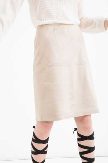Suede look skirt., Sand, hi-res
