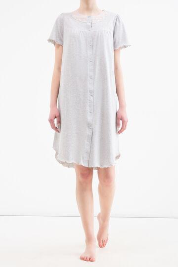 Nightshirt with lace, Grey Marl, hi-res