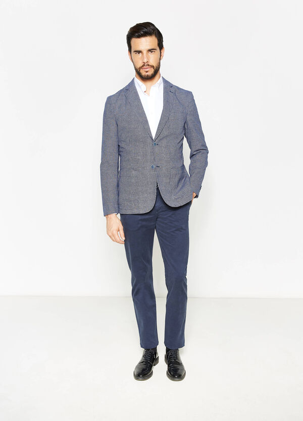 Cotton and linen jacket with micro check pattern | OVS