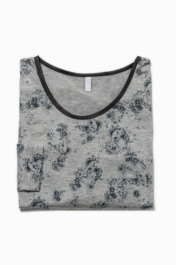 Patterned pyjama top with lace