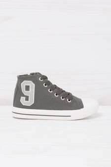 High-top sneakers with contrasting print., Grey, hi-res