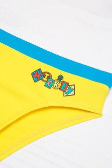 Stretch swim briefs with print, Yellow, hi-res