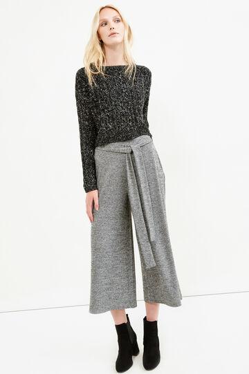 Short knit pullover in cotton blend, Black/White, hi-res