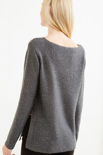 Solid colour pullover with sequins, Grey, hi-res