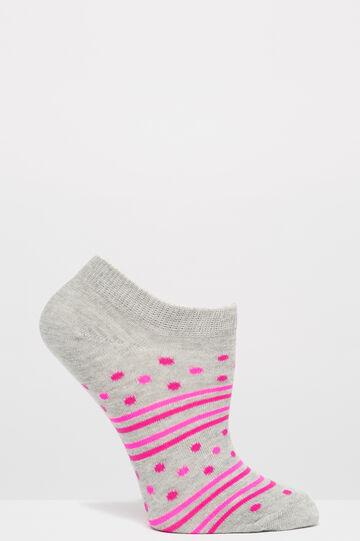 Three-pair pack cotton blend socks, Grey/Pink, hi-res