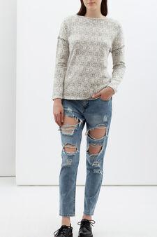 Geometric pattern sweatshirt, Natural, hi-res