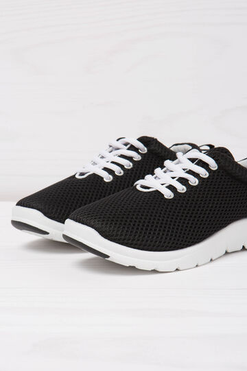 Openwork lace-up sneakers, Black, hi-res