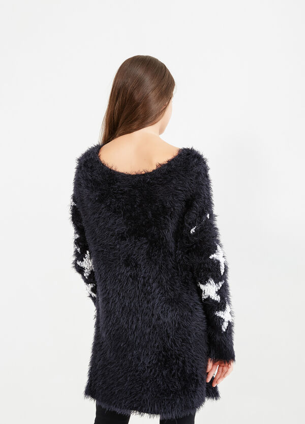 Teen faux fur pullover with stars | OVS