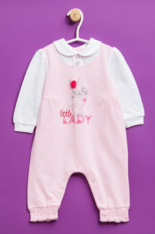 100% cotton printed onesie, White/Pink, hi-res
