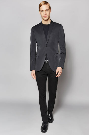 Elegant slim-fit two-button jacket, Black, hi-res